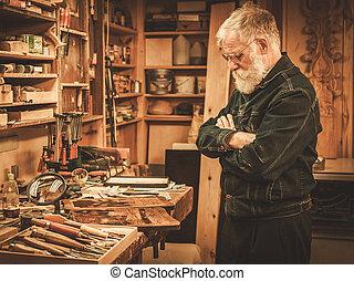 workshop., 他的, 修補者, 年長者