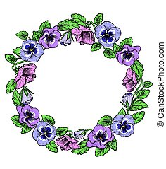 wreath., 葡萄酒, 植物, 框架, flowers., 三色紫羅蘭, 紫色