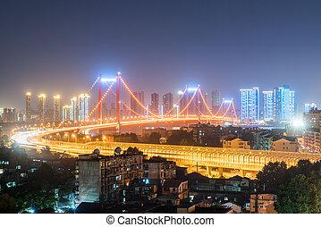wuhan, 吊橋, 夜晚
