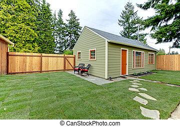 yard., 客人, 柵欄, 背, houe, 綠色, 小